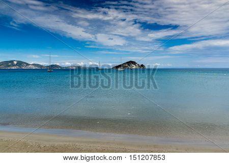 sunbeds in the water, koukla beach, Zakynthos island, Greece