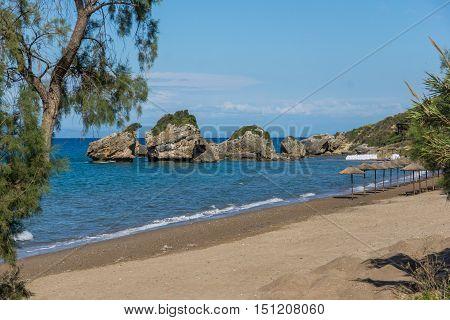 Amazing view of Porto Kaminia beach, Zakynthos island, Greece