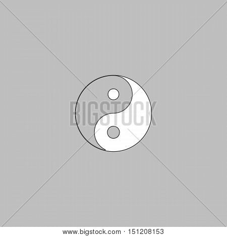 Ying yang Simple line vector button. Thin line illustration icon. White outline symbol on grey background