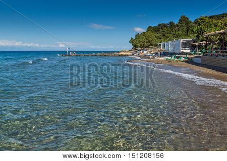 Panorama of Porto Kaminia beach, Zakynthos island, Greece