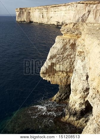 Shear drop from cliffs in malta with signs of erosion