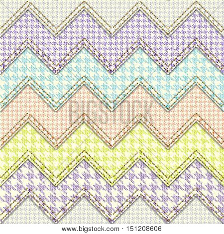 Seamless abstract background pattern. Patchwork chevron with a hounds-tooth pattern