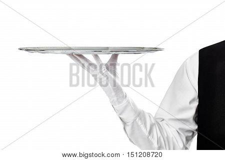 Elegant Waiter Holding Empty Silver Tray