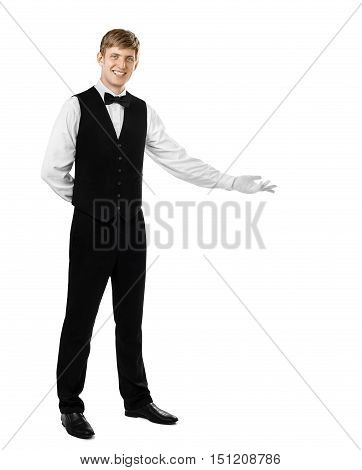 Young Handsome Waiter Doing A Welcome Gesture