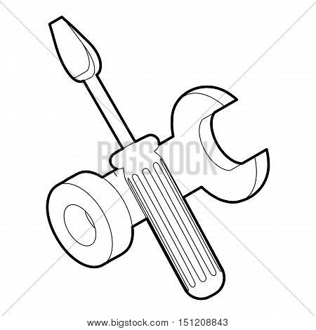 Bolt driver icon. Outline isometric illustration of bolt driver vector icon for web.