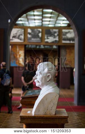 Gori Georgia - August 15 2016: Color image with a statue of Joseph Vissarionovich Stalin at the Stalin Museum in Gori Georgia.