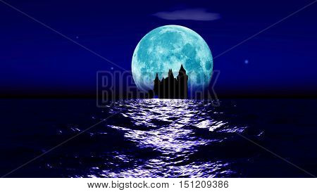 Dream landscape. Big realistic moon rising over a calm surface of ocean. Stars glittering, clouds passing by and a castle ruin in a distance. 3D rendering.