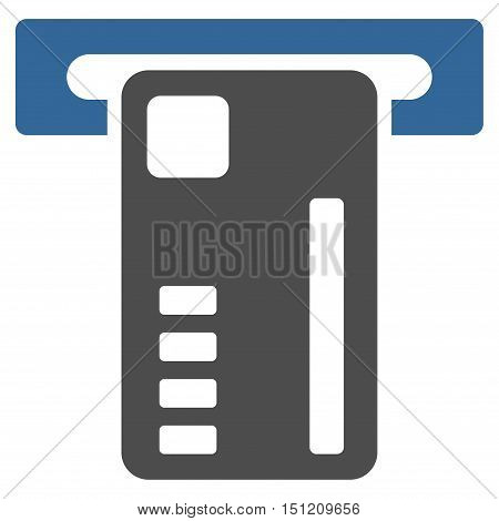 Ticket Machine icon. Glyph style is bicolor flat iconic symbol with rounded angles cobalt and gray colors white background.