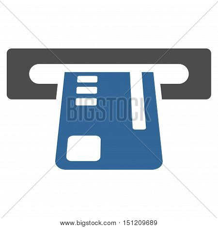 Ticket Terminal icon. Glyph style is bicolor flat iconic symbol with rounded angles cobalt and gray colors white background.