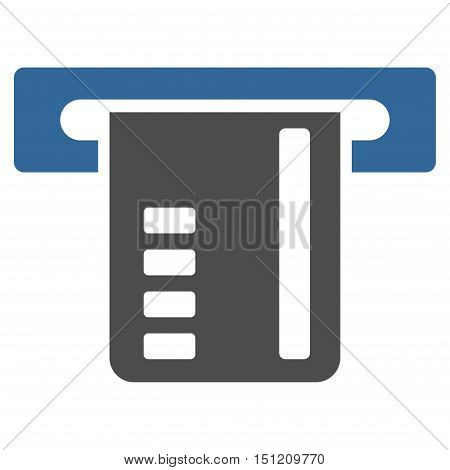 Ticket Terminal icon. Glyph style is bicolor flat iconic symbol with rounded angles, cobalt and gray colors, white background.