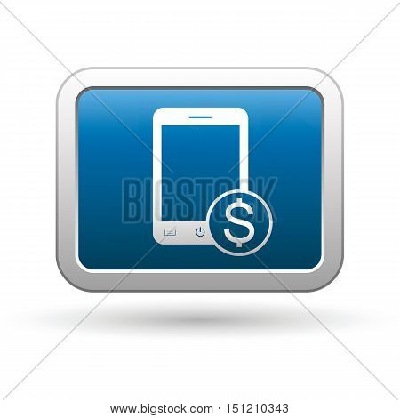 Phone with cost menu icon on the button. Vector illustration