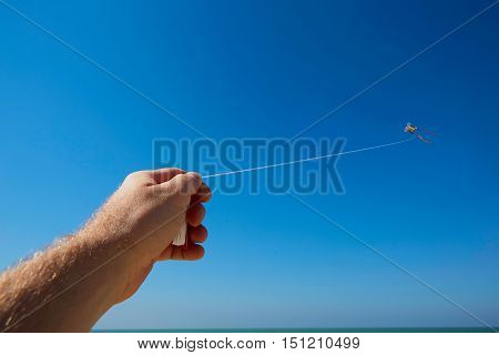 Male hand holding kite strings with a kite in sky.