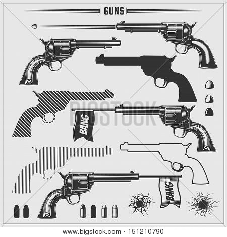 Vector set of weapons. Revolvers and bullets.