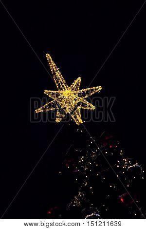 Golden Bethlehem star topped on christmas tree in darkness.