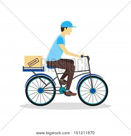 Delivery Bicycle Man with Carton Box. Logistics Service Flat Design Style. Vector illustration