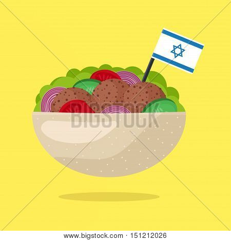 Falafel with Israeli Flag. Vegetarian Fast Food. Flat Design Style. Vector illustration