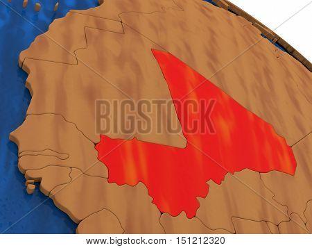 Mali On Wooden Globe