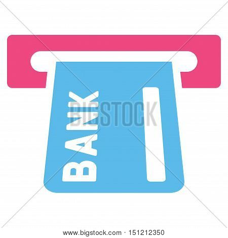 Banking ATM icon. Glyph style is bicolor flat iconic symbol with rounded angles, pink and blue colors, white background.