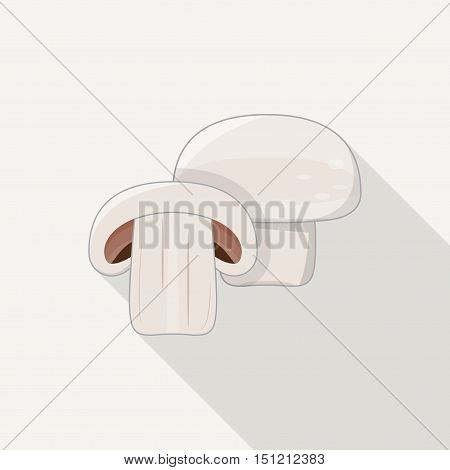 Flat style white vegetarian champignon vector icons.