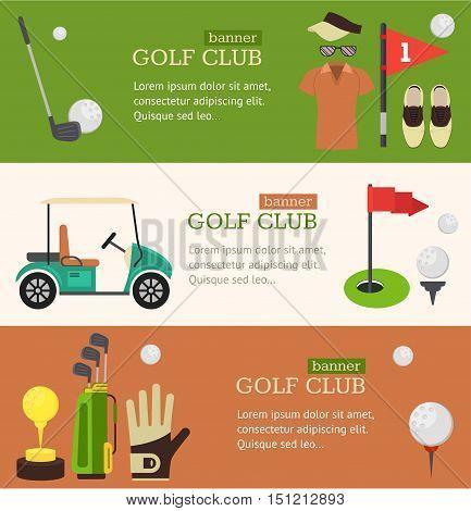 Golf Club Banner Horizontal Set Flat Design Style. Vector illustration