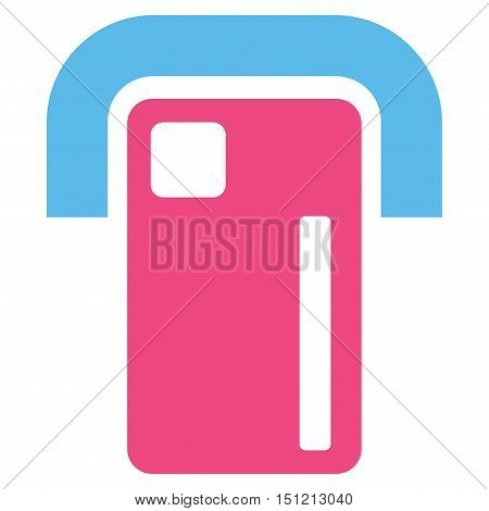 Payment Terminal icon. Glyph style is bicolor flat iconic symbol with rounded angles pink and blue colors white background.