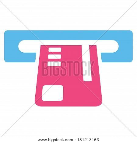 Ticket Terminal icon. Glyph style is bicolor flat iconic symbol with rounded angles pink and blue colors white background.