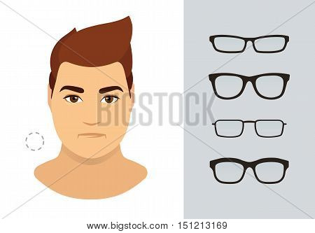 Man eyeglasses shapes for round man face type. Various forms of summer glasses for round face. Fashion collection. Vector icon set.