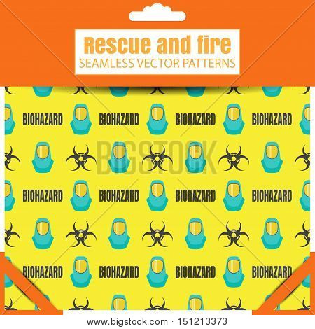 Seamless vector patterns with biohazard sign protective suit and text in the package with shadow.