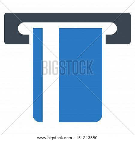 ATM Terminal icon. Glyph style is bicolor flat iconic symbol with rounded angles smooth blue colors white background.