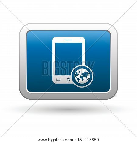 Phone with map menu icon on the button. Vector illustration