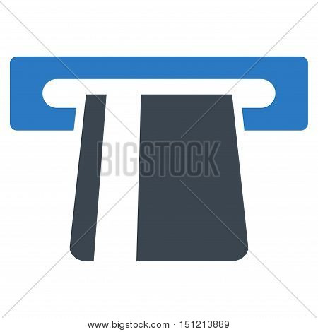 Bank Card Terminal icon. Glyph style is bicolor flat iconic symbol with rounded angles smooth blue colors white background.