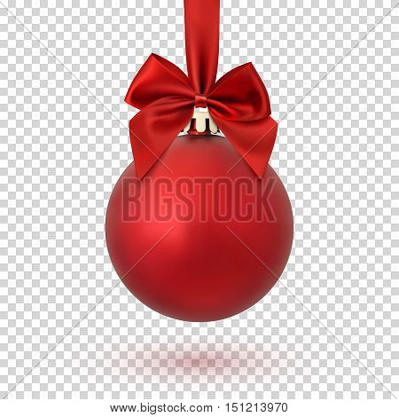 Red Christmas ball with ribbon and a bow, isolated on transparent background. Vector illustration.