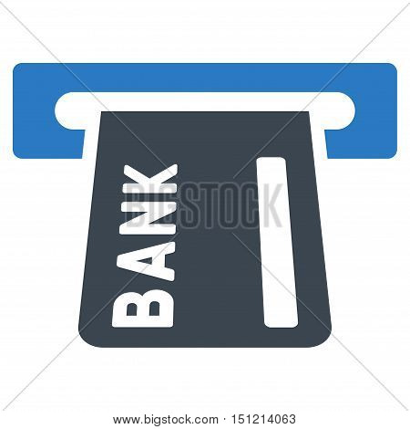 Banking ATM icon. Glyph style is bicolor flat iconic symbol with rounded angles smooth blue colors white background.