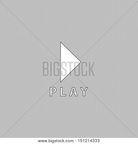 Play button Simple line vector button. Thin line illustration icon. White outline symbol on grey background