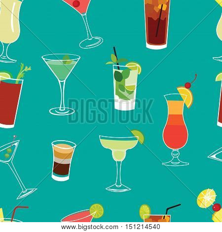 Set of famous cocktails blue seamless vector pattern