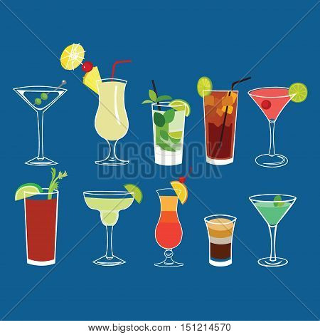 Alcohol cocktail drinks vector isolated set ( Martini, Pina Colada, Mojito, Long Island Iced Tea, Cosmopolitan, Bloody Mary, Margarita, Sex on the beach, b-52, Grasshopper )