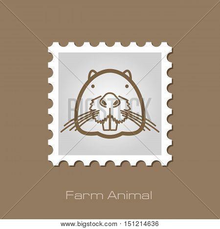 Otter beaver outline stamp. Animal head vector symbol eps 10