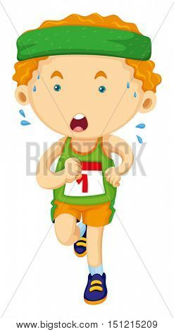 Runner looking tired in race illustration
