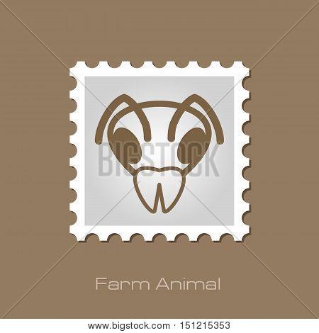 Bee wasp bumblebee outline stamp. Animal head vector symbol eps 10