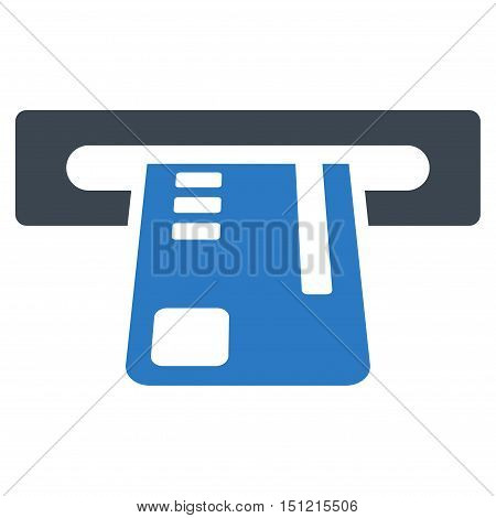 Ticket Terminal icon. Glyph style is bicolor flat iconic symbol with rounded angles smooth blue colors white background.