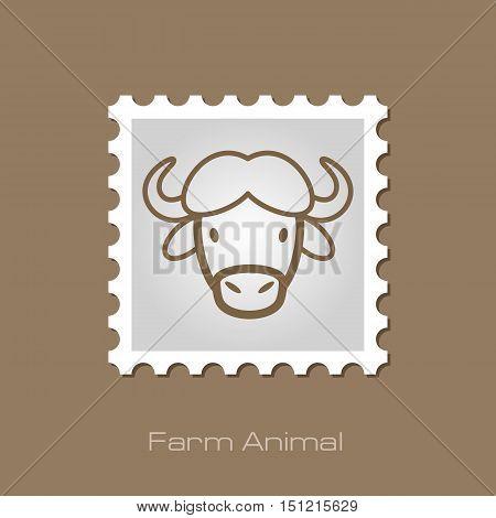 Buffalo bull bison ox outline stamp. Animal horned head vector symbol eps 10