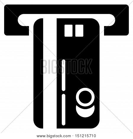 ATM Machine icon. Glyph style is flat iconic symbol with rounded angles black color white background.