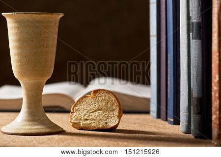 stilllife with chalice of wine and bible