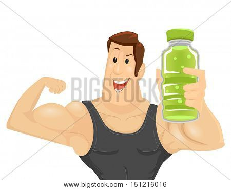 Fitness Illustration of a Muscular Man in a Tank Top Holding a Bottle of Energy Drink While Flexing His Bicep