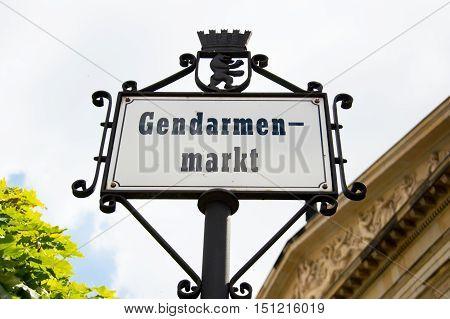 signpost at Gendarmenmarkt Platz in Berlin Germany