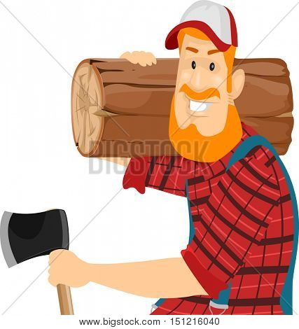 Illustration of a Bearded Caucasian Lumberjack in a Cap and Plaid Shirt Carrying a Log on His Shoulders