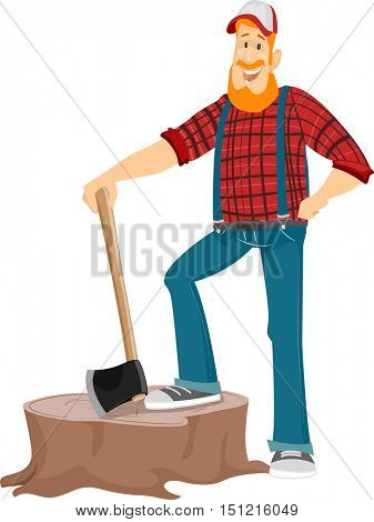 Illustration of a Bearded Caucasian Lumberjack in a Cap and Plaid Shirt Standing on a Giant Stump