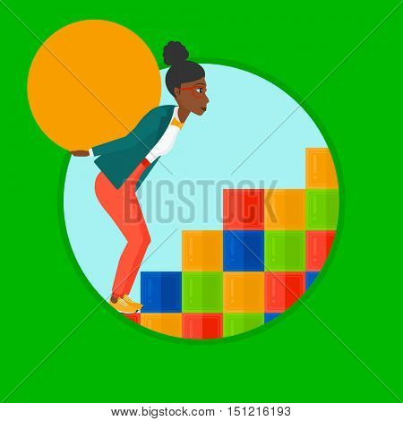 An african tired woman rising up on the colored cubes and carrying a big stone on her back. Woman with huge concrete ball going up. Vector flat design illustration in the circle isolated on background