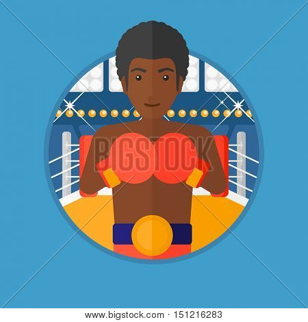 An african-american young sportsman in boxing gloves. Professional male boxer standing in the boxing ring. Vector flat design illustration in the circle isolated on background.
