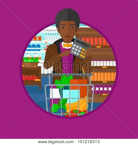 An african man at the supermarket with calculator and supermarket trolley full with products. Man checking prices with calculator. Vector flat design illustration in the circle isolated on background.